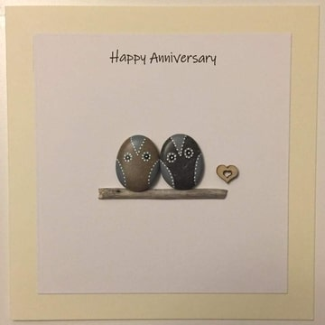 Two Owls on a log, white background yellow card -  Size: 6x6 - Greeting: Happy Anniversary.