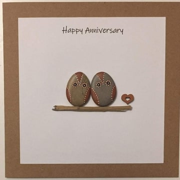 Two Owls on a log, white background, brown kraft card -  Size: 6x6 - Greeting: Happy Anniversary.