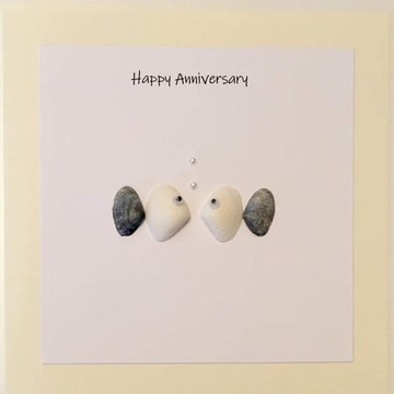 Two fishes looking at each other, pearl bubbles, white background yellow card -  Size: 6x6 - Greeting: Happy Anniversary.
