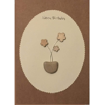 Wooden flowers in a pebble pot, white oval background on brown kraft card -  Size: 7x5 - Greeting: Happy Birthday