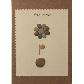 Pebble flower in a pebble pot, white rectangle background on brown kraft card -  Size: 7x5 - Greeting: Happy Birthday