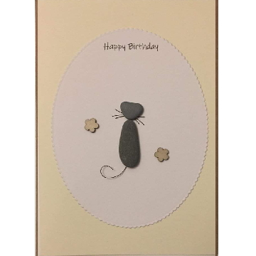Cat with wire tail, white oval background on yellow card -  Size: 7x5 - Greeting: Happy Birthday