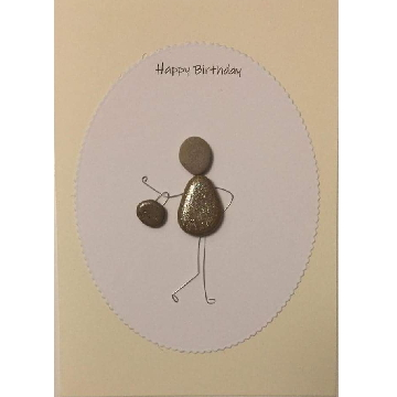 Woman with handbag on arm, white oval background on yellow card -  Size: 7x5 - Greeting: Happy Birthday