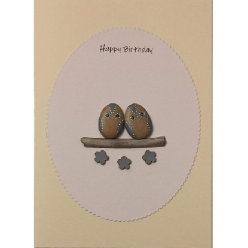 Two owls on a log, white oval background on yellow card -  Size: 7x5 - Greeting: Happy Birthday