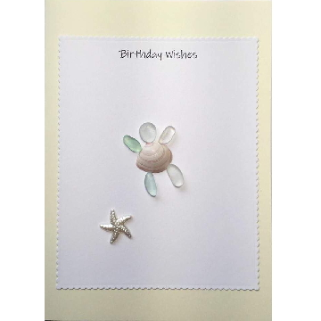 Sea Glss turtle swimming next to starfish, white rectangle on yellow card -  Size: 7x5 - Greeting: Birthday Wishes