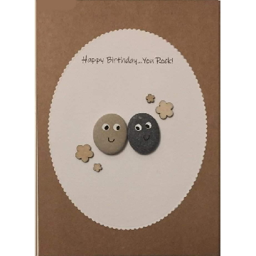 Two googly eye pebbles, white oval background on brown kraft cats -  Size: 7x5 - Greeting: Happy Birthday…you rock