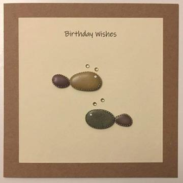 Two pebble fish swimming, white square on yellow card -  Size: 6x6 - Greeting: Birthday Wishes