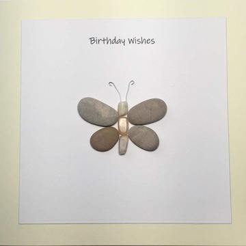 Pebble and sea glass, white square on yellow card -  Size: 6x6 - Greeting: Birthday Wishes