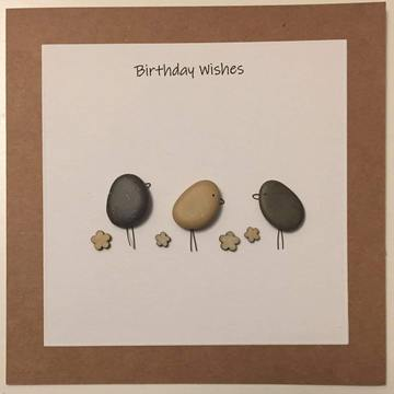 Three pebble birds on ground, white square on brown kraft card -  Size: 6x6 - Greeting: Birthday Wishes