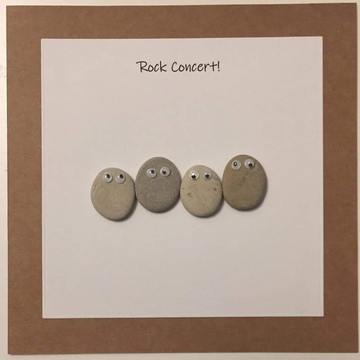 Four googly eye pebbles, white square on brown kraft card -  Size: 6x6 - Greeting: Rock Concert