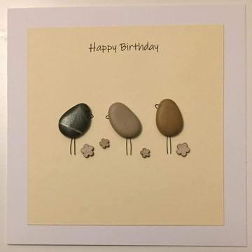 Three pebble birds on ground, yellow square on white card -  Size: 6x6 - Greeting: Happy Birthday