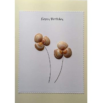 Shell flowers, white rectangle background on yellow card -  Size: 7x5 - Greeting: Happy Birthday