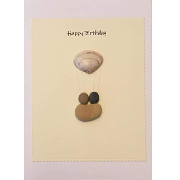 Shell air ballon with couple in pebble basket, yellow retangle background on yellow card  -  Size: 7x5 - Greeting: Happy Birthday