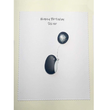 Penquin holdinga balloon, white rectangle background on yellow card -  Size: 7x5 - Greeting: Happy Birthday Sister