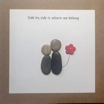 Couple standing with one holding a flower, white square background on brown kraft card -  Size: 6x6 - Greeting: Side by side is where we belong