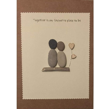 Couple standing on a log next to heart flower, white rectangle background on brown kraft card -  Size: 7x5 - Greeting: Together is my favourite place to be