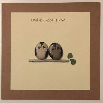 Two owls standing om a rock, yellow square background on brown kraft card -  Size: 6x6 - Greeting: Owl you need is love