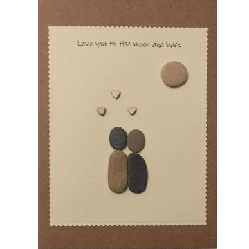 Couple standing above hearts and a pebble moon, white rectangle background on brown kraft card -  Size: 7x5 - Greeting: Love you to the moon and back