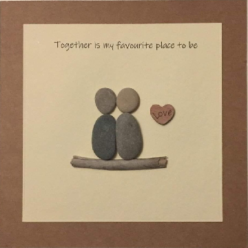 Couple standing on alog next to love heart, white square background on brown kraft card -  Size: 6x6 - Greeting: Together is my favourite place to be