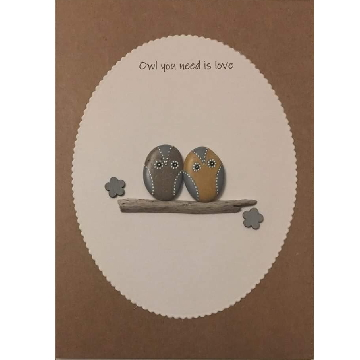 Two owls standing on a log, white oval background on brown kraft card -  Size: 7x5 - Greeting: Owl you need is love