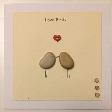 Two pebble birds kissing, yellow square background on white card -  Size: 6x6 - Greeting: Love Birds