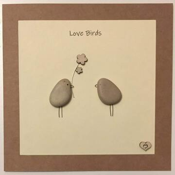 Two pebble birds one with a flower in beak, yellow square background on brown kraft card -  Size: 6x6 - Greeting: Love Birds