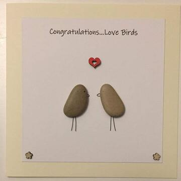 Two pebble birds below a red heart yellow square background on white card -  Size: 6x6 - Greeting: Congractulations love birds
