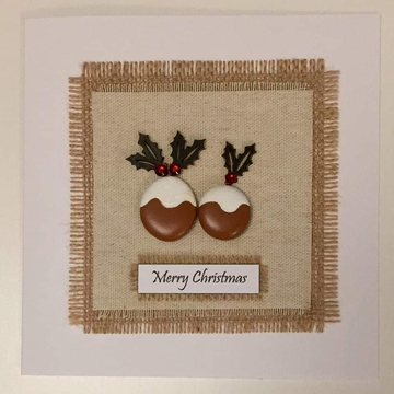 Two xmas puddings, hessian square, white background on white card -  Size: 6x6 - Greeting: Merry Christmas