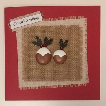 Two xmas puddings, hessian square, red background on white card -  Size: 6x6 - Greeting: Season's Greetings