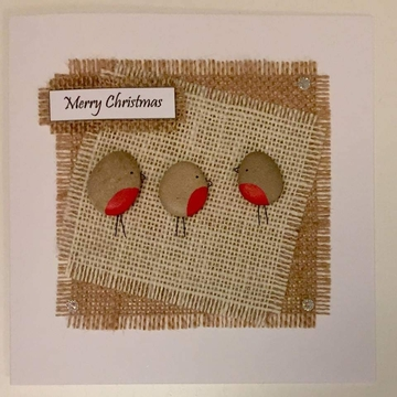 Three Robins, fabric square on hessian square, white background on white card -  Size: 6x6 - Greeting: Merry Christmas