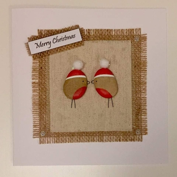 Two Robins kissing with xmas hats, fabric square on hessian square, white background on white card -  Size: 6x6 - Greeting: Merry Christmas