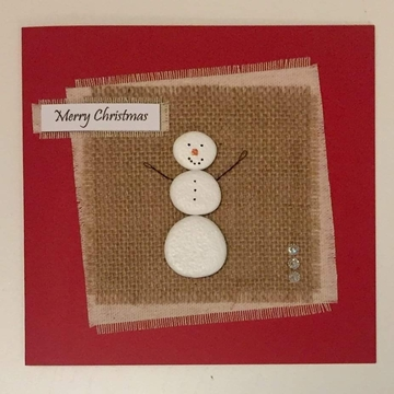 A snowman, hessian square on fabric square, white background on red card -  Size: 6x6 - Greeting: Merry Christmas