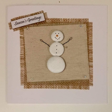 A snowman, fabric square on hessian square, white background on white card -  Size: 6x6 - Greeting: Season's Greetings